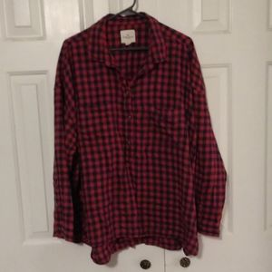 American Eagle high-low lightweight plaid